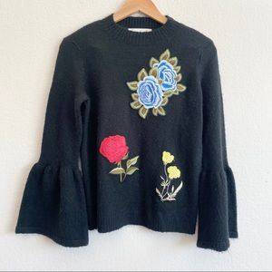 Artisan Crafted Floral Appliqué Bell Sweater